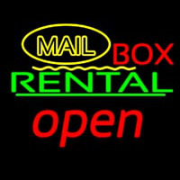 Yellow Mail Block Bo  Rental Open 3 Neon Sign