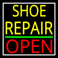 Yellow Shoe Repair Open With Border Neon Sign