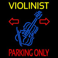 Yellow Violinist Red Parking Only Neon Sign