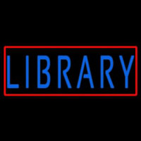 Blue Library Neon Sign