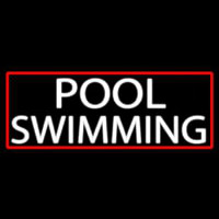 Pool Swimming With Red Border Neon Sign